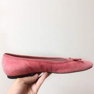Talbots suede ballet flats with bow pink size 8
